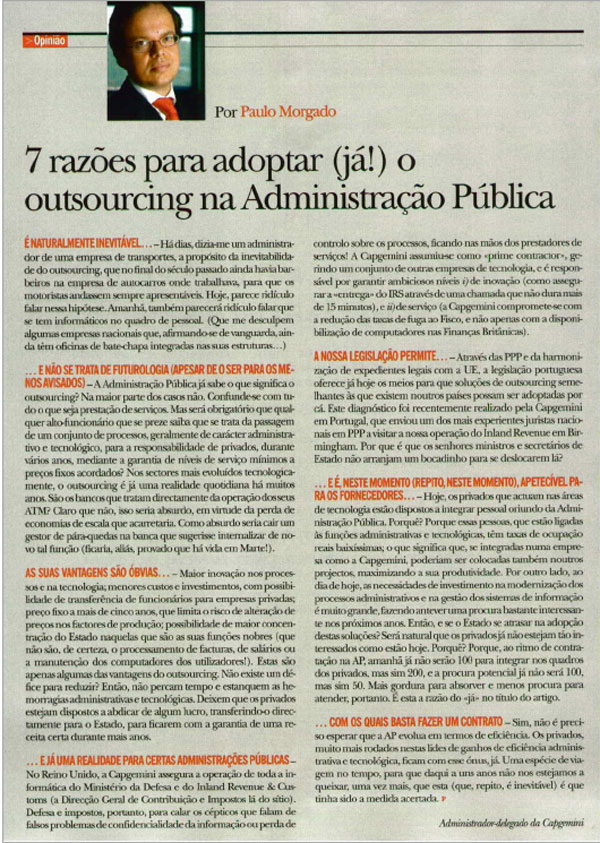 Paulo Morgado on outsourcing in the Public Administration