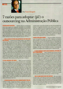 Outsourcing in the Public Administration | Paulo Morgado in PRÉMIO