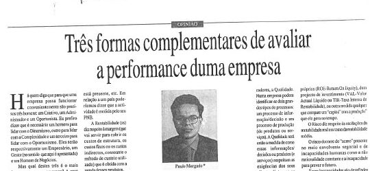 Company performance evaluation | Paulo Morgado in Jornal de Leiria