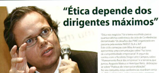 "Top management's ethics | Paulo Morgado in ""Os desafios das PME"""